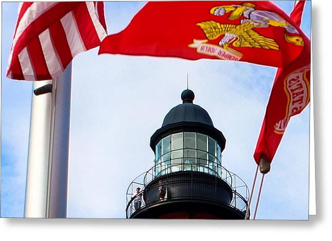 4th July Greeting Cards - The Lighthouse and The Veterans Memorial Greeting Card by Rene Triay Photography