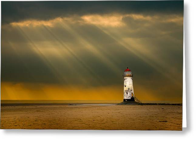 the lighthouse as the storm breaks Greeting Card by Meirion Matthias