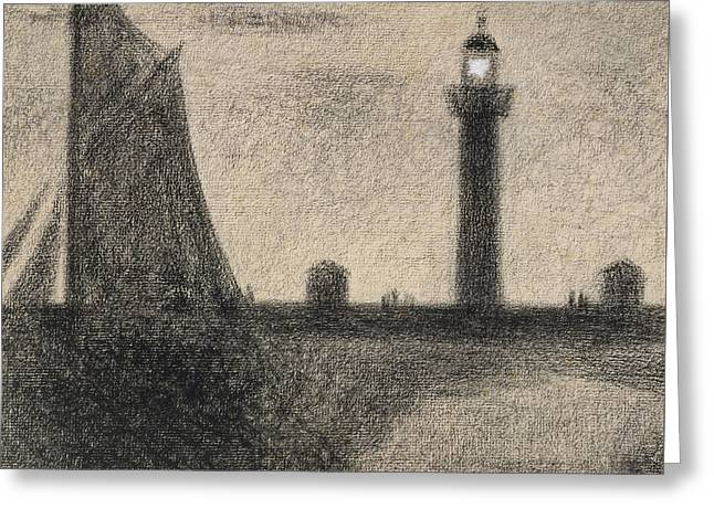 Boat Pastels Greeting Cards - The Lighthouse at Honfleur Greeting Card by Georges Pierre Seurat