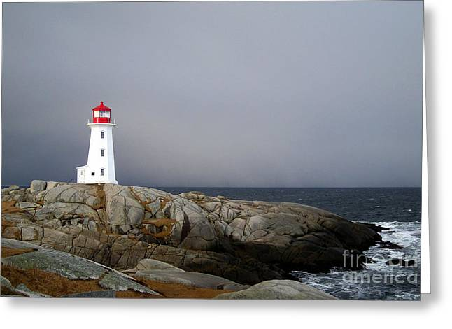 The Lighthouse At Peggys Cove Nova Scotia Greeting Card by Shawna Mac