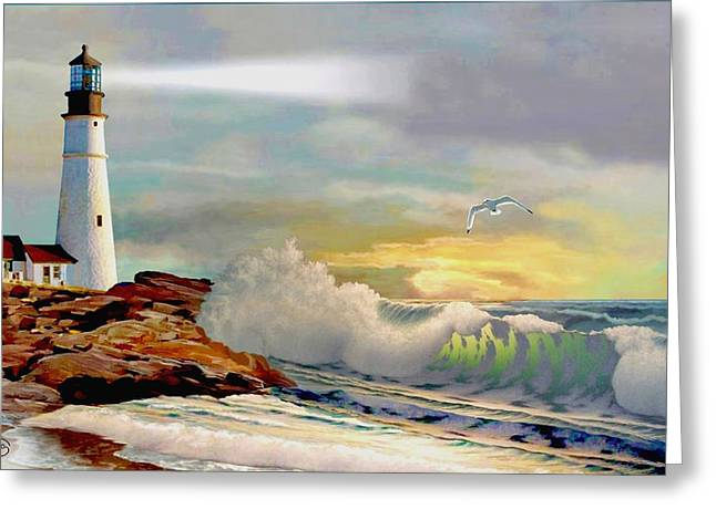 Sailboats In Harbor Greeting Cards - The Lighthouse at Portland Head Greeting Card by Ronald Chambers