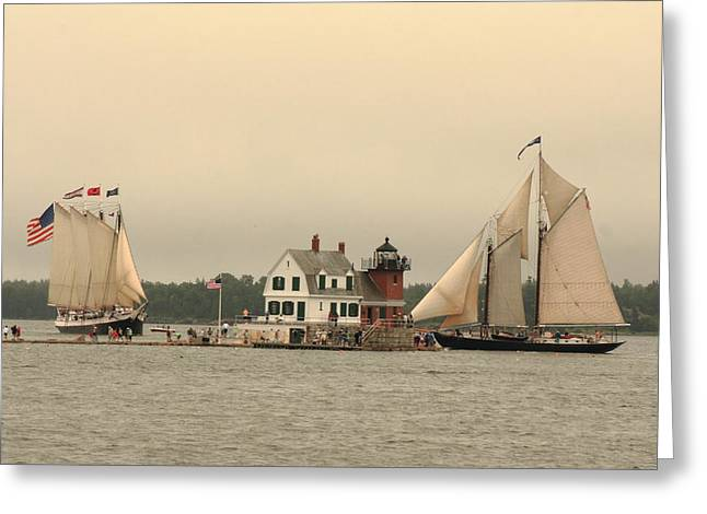 The Lighthouse At Rockland Greeting Card by Doug Mills