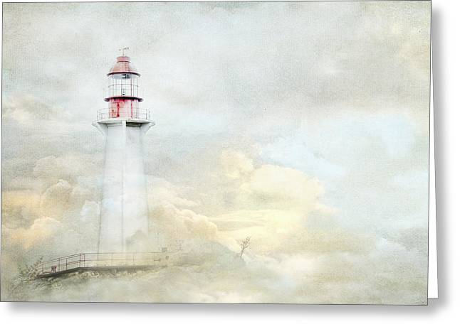 Burrard Inlet Greeting Cards - The Lighthouse Greeting Card by Theresa Tahara