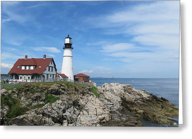 Maine Lighthouses Greeting Cards - The Lighthouse Greeting Card by Yogi