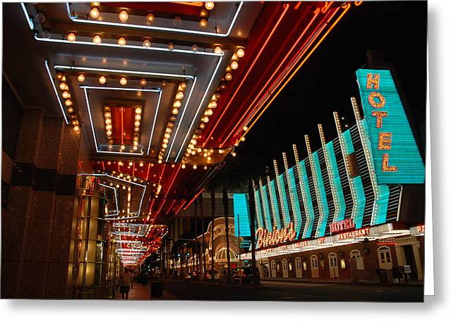 Show Time Greeting Cards - The lights are on in Las Vegas Greeting Card by Susanne Van Hulst