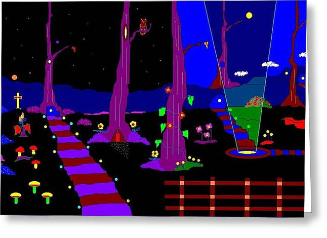 Etc. Paintings Greeting Cards - The Lights In The Forest. Greeting Card by Richard Magin