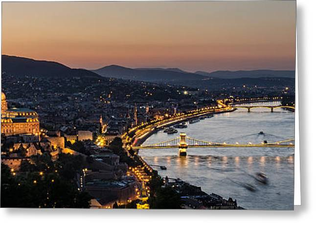 Light Chains Greeting Cards - The Lights Of Budapest Greeting Card by Thomas D Morkeberg