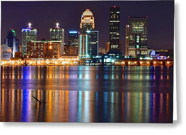 Recently Sold -  - Race Horse Greeting Cards - The Lights of a Louisville Night Greeting Card by Frozen in Time Fine Art Photography