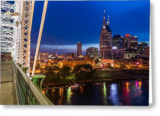 Downtown Nashville Greeting Cards - The Lights Of Music City Greeting Card by Clay Townsend