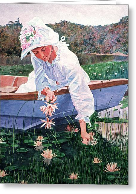 Period Paintings Greeting Cards - The Lily Gatherer Greeting Card by David Lloyd Glover