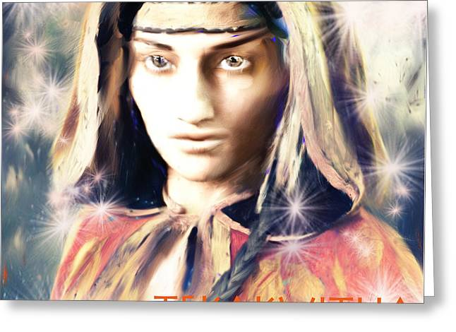 Kateri Tekakwitha Greeting Cards - The Lily of the Mohawks 2 Greeting Card by Suzanne Silvir