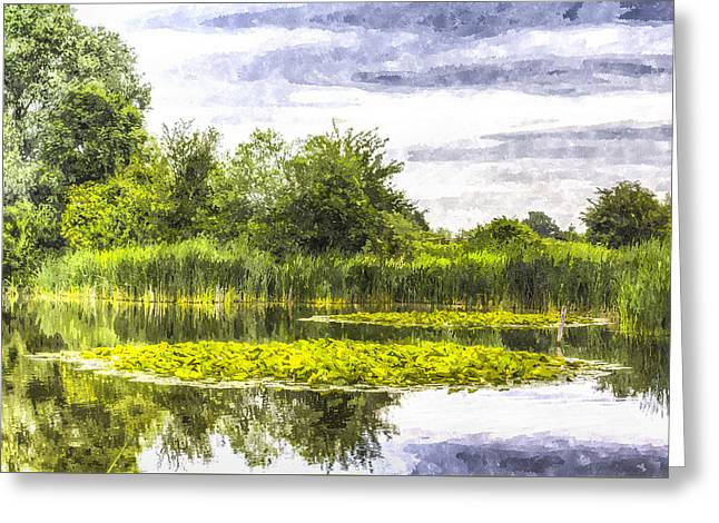 S Lily Greeting Cards - The Lily Pond Art Greeting Card by David Pyatt