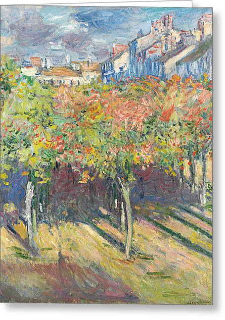 The Lime Trees At Poissy Greeting Card by Claude Monet