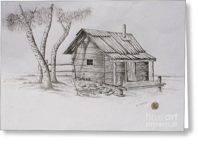 Mountain Cabin Drawings Greeting Cards - The Line Shack Greeting Card by Christopher Keeler Doolin