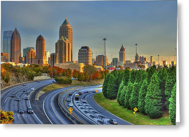 Grady Greeting Cards - The Atlanta Line Up Autumn Sunset Reflections Greeting Card by Reid Callaway