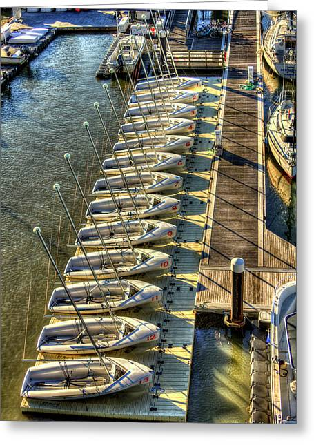 The Line Up Charleston Yacht Club Charleston City Marina South Carolina Greeting Card by Reid Callaway