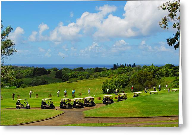 Tropical Golf Course Greeting Cards - The Line Up Greeting Card by Lynn Bauer