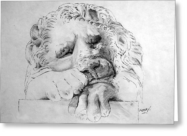 Lions Drawings Greeting Cards - The Lion Greeting Card by Adam Vance