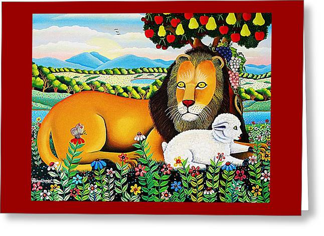 Lion And The Lamb Greeting Cards - The Lion and the Lamb  Greeting Card by Branko Paradis