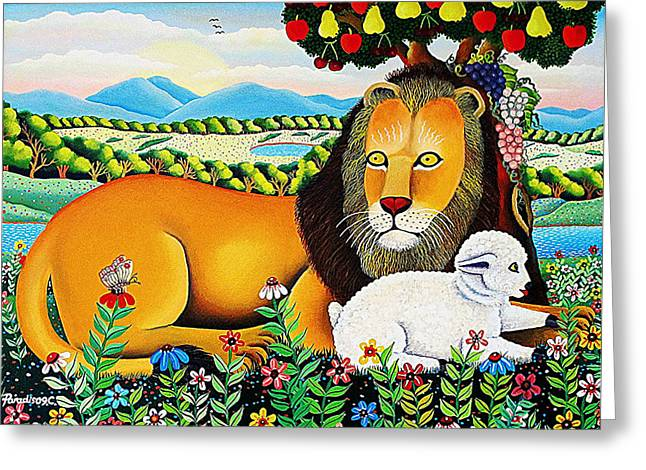 Lion And The Lamb Greeting Cards - The Lion and the Lamb 2 Greeting Card by Branko Paradis