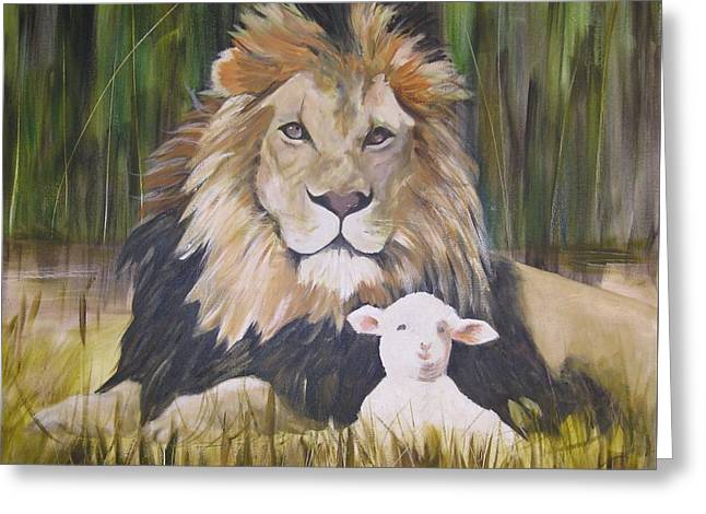 Lion Lamb Greeting Cards - The Lion and the Lamb Greeting Card by Almeta LENNON