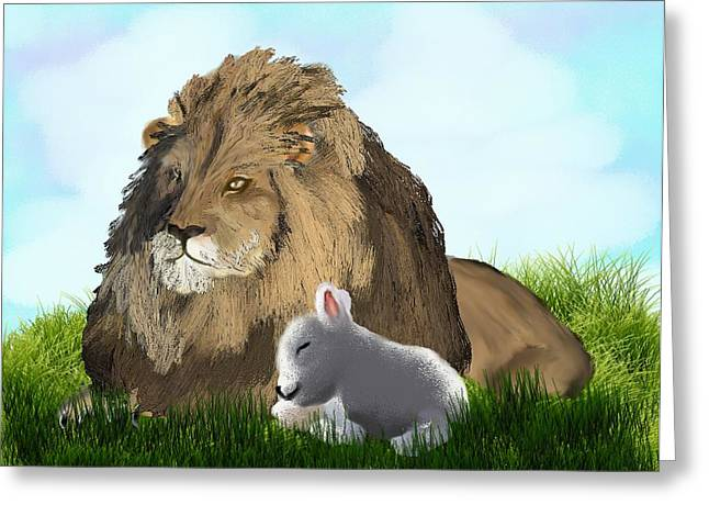 Lion Lamb Greeting Cards - The Lion and The Lamb Greeting Card by Diane Haas