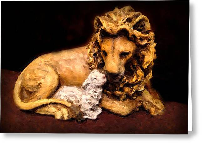 The Lion And The Lamb Greeting Card by Morgan Carter