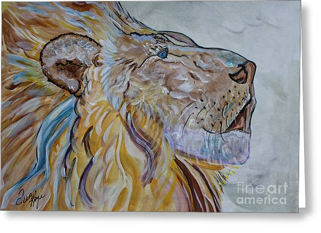 Love The Animal Greeting Cards - The Lion Call Greeting Card by Ella Kaye Dickey