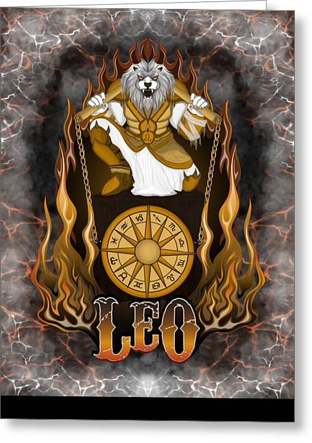 Greeting Card featuring the drawing The Lion - Leo Spirit by Raphael Lopez
