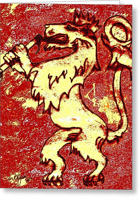 Hand Drawn Mixed Media Greeting Cards - The Lion Of Judah Greeting Card by Glenn McCarthy Art and Photography