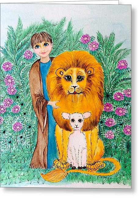 Lion And The Lamb Greeting Cards - The Lion, the Lamb, and the Child Greeting Card by Rosemary Woods