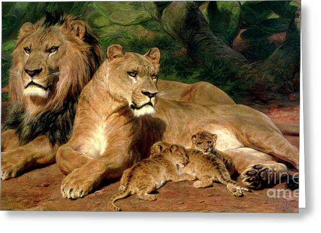 Suckling Greeting Cards - The Lions at Home Greeting Card by Rosa Bonheur