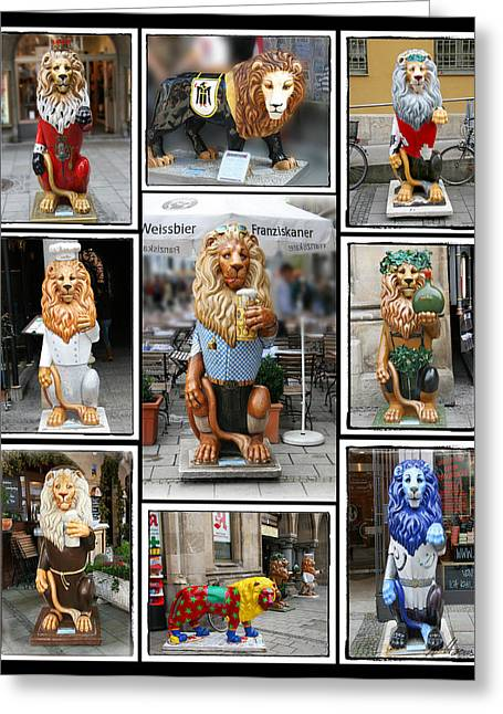 Diana Haronis Greeting Cards - The Lions of Munich Greeting Card by Diana Haronis