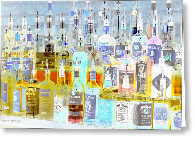 The Liquor Cabinet Greeting Card by Kathy Barney
