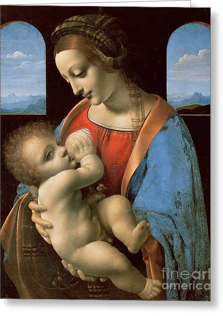 The Litta Madonna Greeting Card by Leonardo Da Vinci