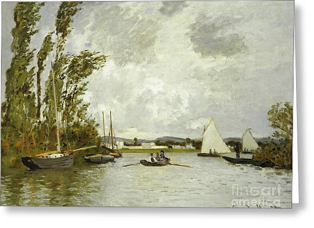 Docked Sailboats Paintings Greeting Cards - The Little Branch of the Seine at Argenteuil Greeting Card by Claude Monet