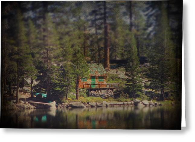 Miniature Effect Greeting Cards - The Little Cabin Greeting Card by Laurie Search