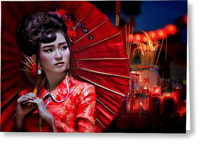 Tradition Greeting Cards - The Little Girl From China Greeting Card by Joey Bangun