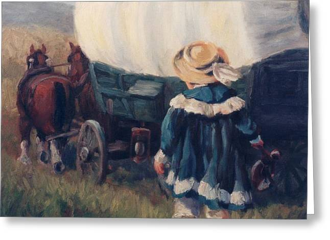 The Little Pioneer Western Art Greeting Card by Kim Corpany