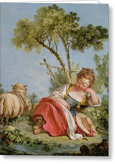 The Little Shepherdess Greeting Card by Francois Boucher