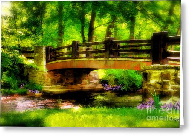 The Little Stone Bridge Greeting Card by Lois Bryan