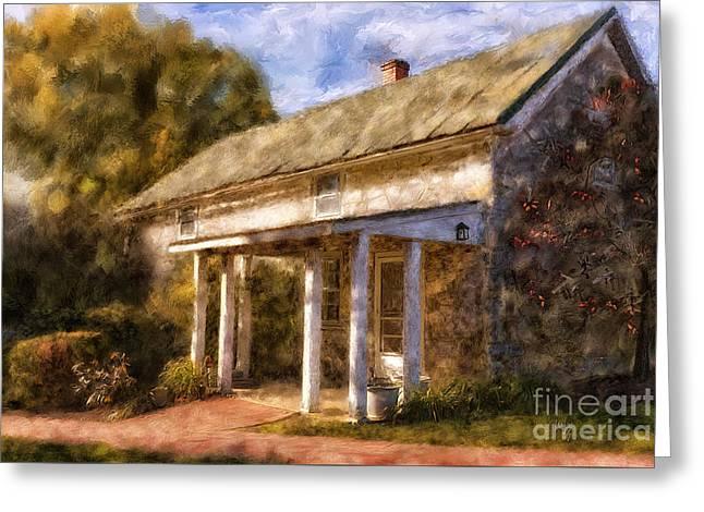 The Little Stone House In September Greeting Card by Lois Bryan