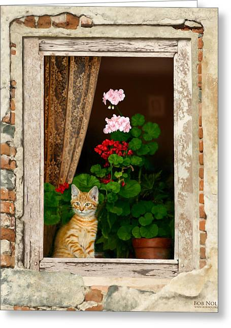 The Little Tuscan Tiger Greeting Card by Bob Nolin