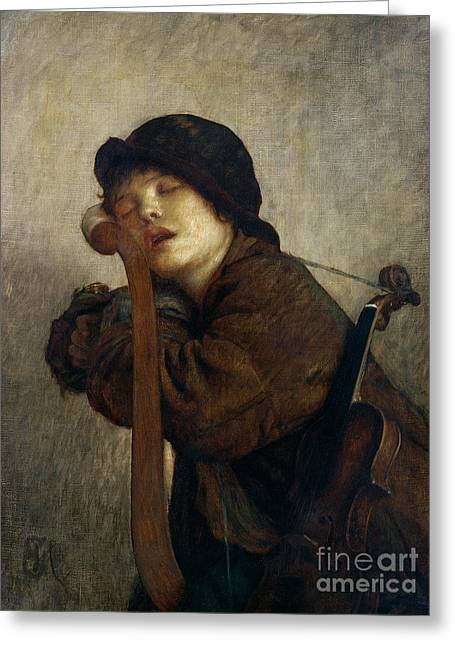 Music Greeting Cards - The Little Violinist Sleeping Greeting Card by Antoine Auguste Ernest Hebert