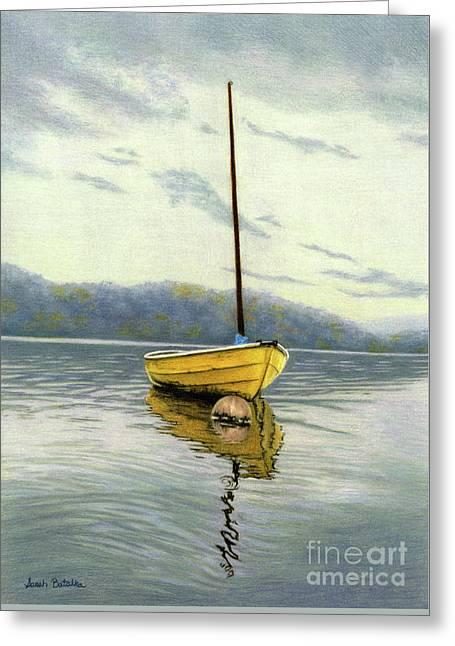The Yellow Sailboat Greeting Card by Sarah Batalka