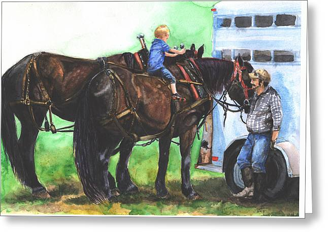 Amish Farms Paintings Greeting Cards - The Littlest Teamster Greeting Card by Suzanne Sudekum