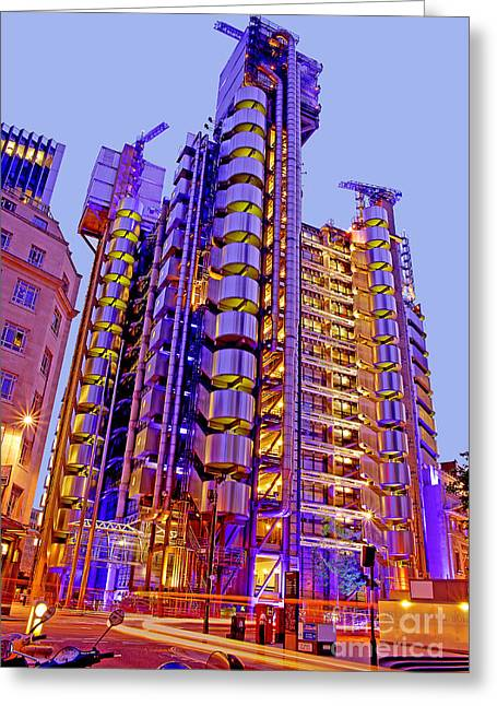 Great Architect Greeting Cards - The Lloyds Building in the City of London Greeting Card by Chris Smith