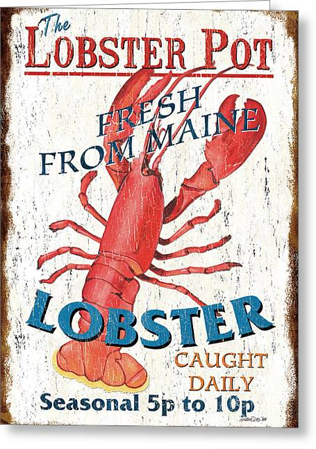 Dish Greeting Cards - The Lobster Pot Greeting Card by Debbie DeWitt