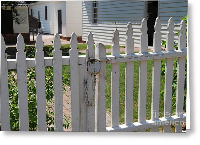 White Pickett Fences Greeting Cards - The Lock Greeting Card by Living Waters Photography