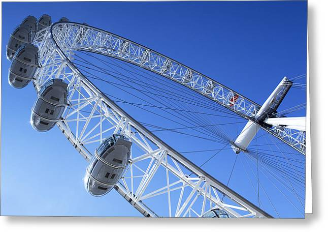Height Greeting Cards - The London Eye, close-up Greeting Card by Simon Kayne